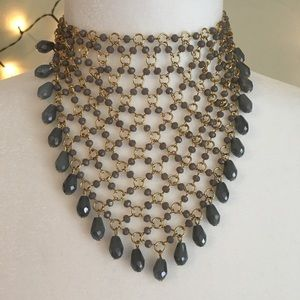 NWT Anthropologie Beaded Gray & Gold Bib Necklace